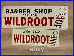 Vtg WILDROOT Barber Shop Embossed Metal Sign SET