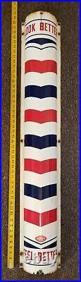 Vtg William Marvy Porcelain Metal Curved Barbershop (Barber Pole) Sign 48 Long