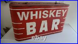 Whiskey Bar Sign Red Metal 25 Vintage Retro Western Saloon Rodeo